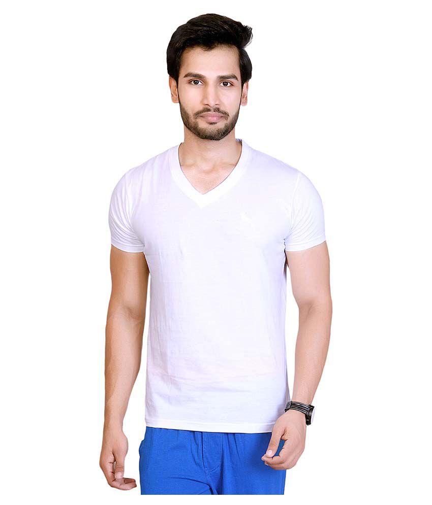 LUCFashion White V-Neck T-Shirt