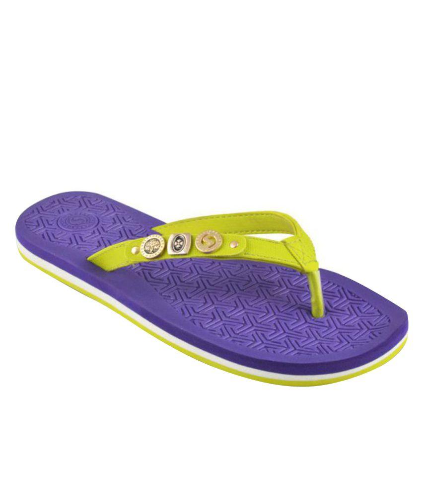 Sole Threads Green & Purple Flip Flops