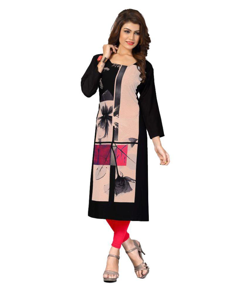 Elevate Women Multicoloured Crepe Straight Block printed Kurti