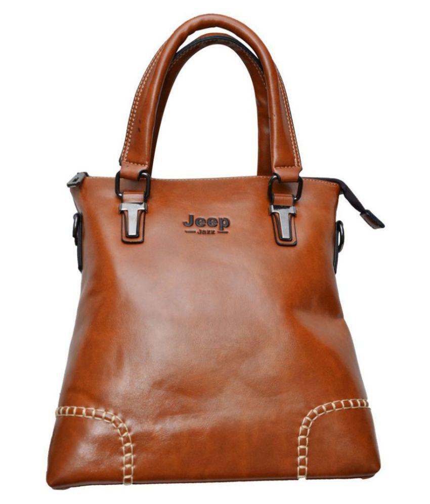 Platinum Overseas Brown Leather Casual Messenger Bag