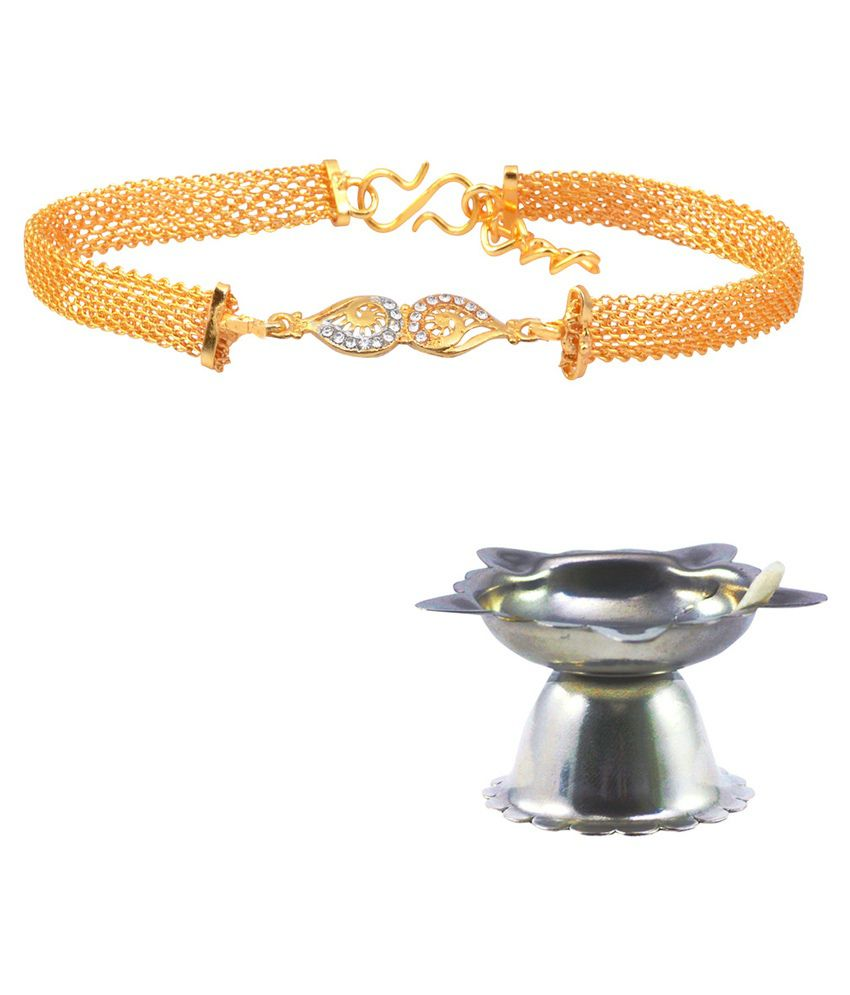 Alphaman Golden Alloy Bracelet Rakhi, 1 Pooja Diya and 1 Greeting Card for Men