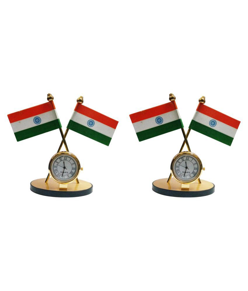 Gold Dust's Indian Flag with Clock Symbol for Car Dashboard - Set of 2