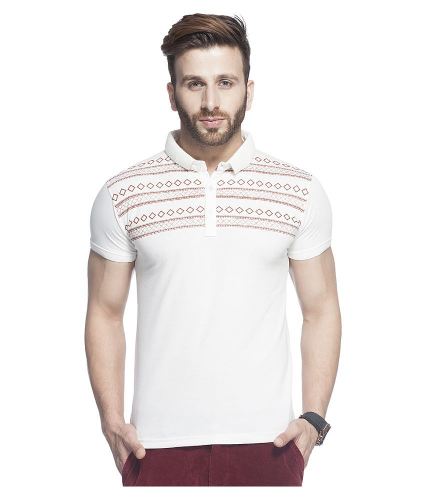 Tinted White Cotton Blend Polo T-Shirt Single Pack