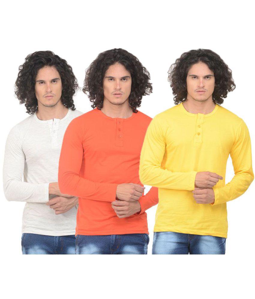 Vs Fashion Multi Henley T-Shirt Pack of 3