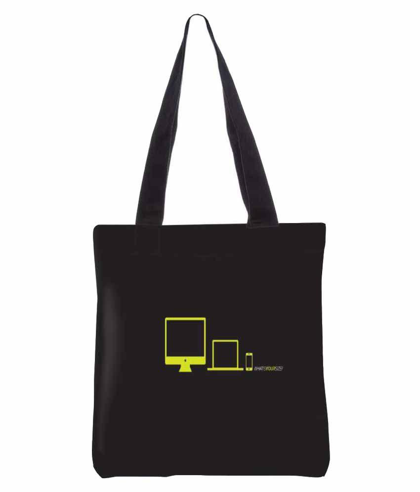 Snoogg Black Canvas Tote Bag