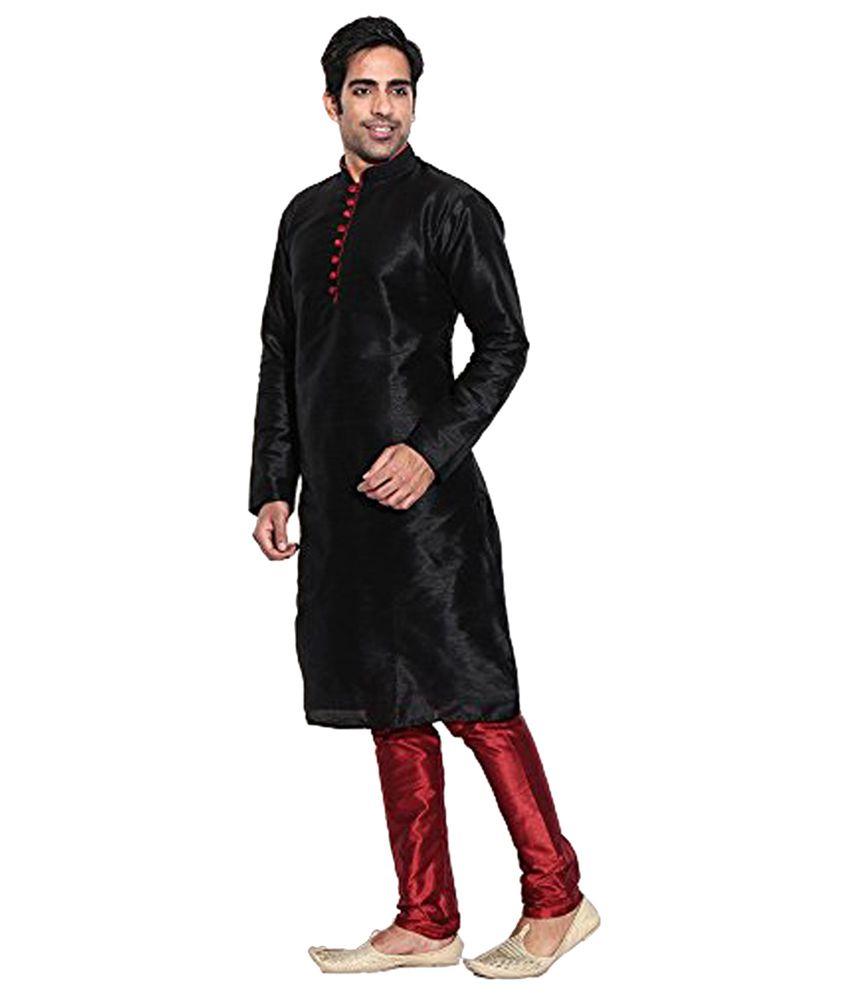 Larwa Black Silk Kurta Pyjama Set Single Pack