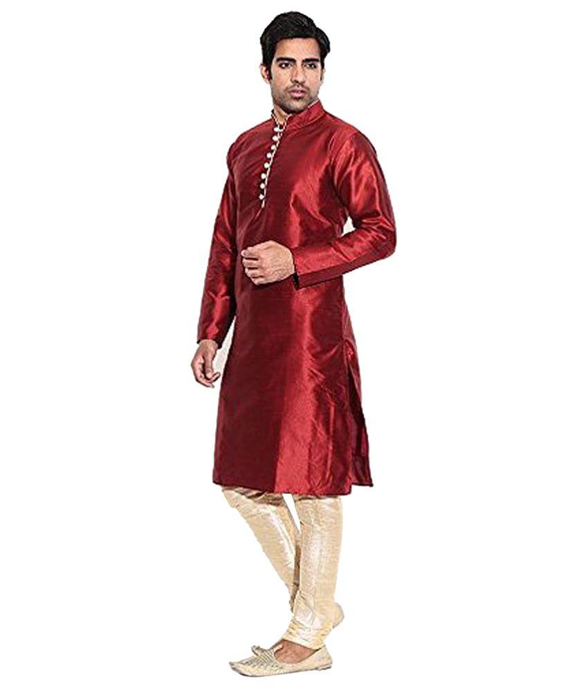 Larwa Maroon Silk Kurta Pyjama Set Single Pack