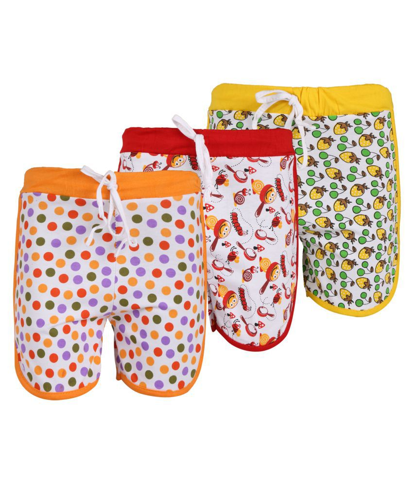Weecare Multicolor Cotton Shorts - Pack of 3