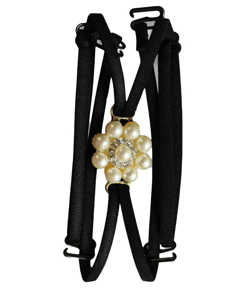 Clovia Detachable Double String Straps In Black With Pearl Floral Pendant