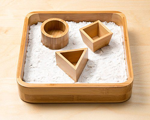 Desk Executive Sandbox Bamboo Sand Tray With 3 Geometric Molds And Sands Alive Moldable