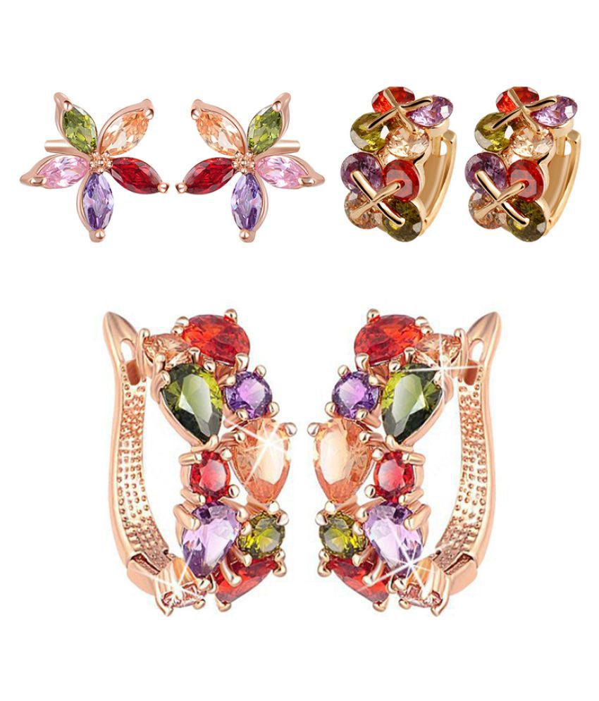 Jewels Galaxy Multicolor Combo Earrings - Set of 3