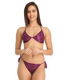 Clovia Purple Satin Bra & Panty Sets