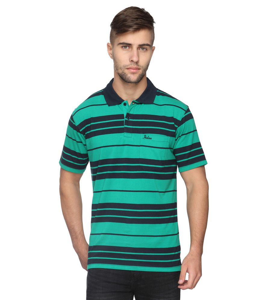 Proline Green Striped Regular Fit Polo T-Shirt