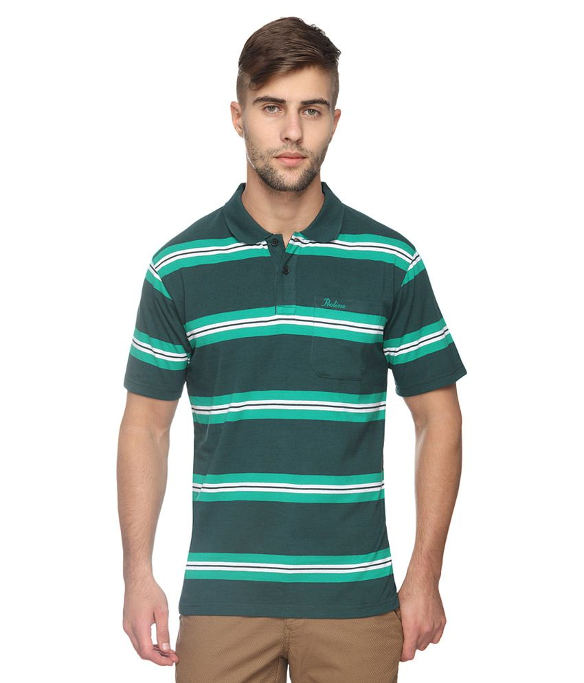 Proline Green Striped Regular Fit Polo T-Shirt