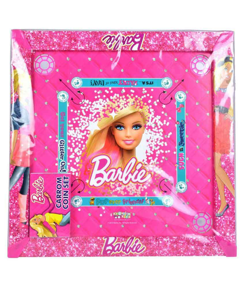 Mattel Barbie 20 Inches Carom Board with Colourful Coins & Striker