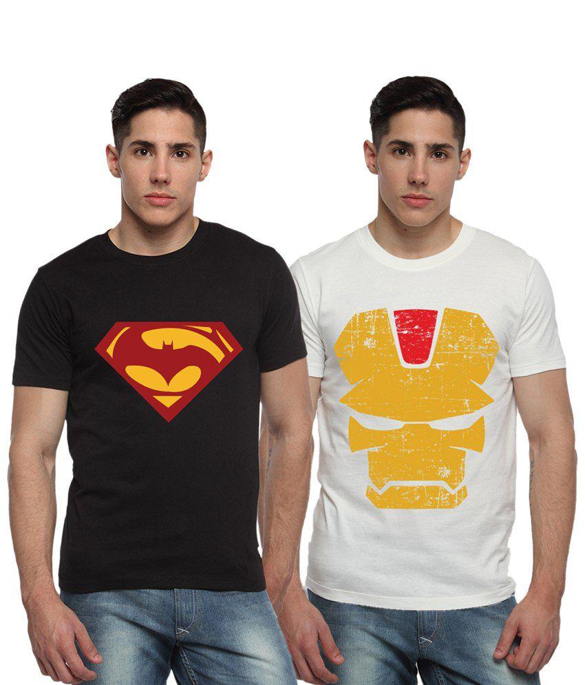 Adro Combo of 2 Black & White Batman, Superman & Iron Man Logo Half Sleeves T Shirts