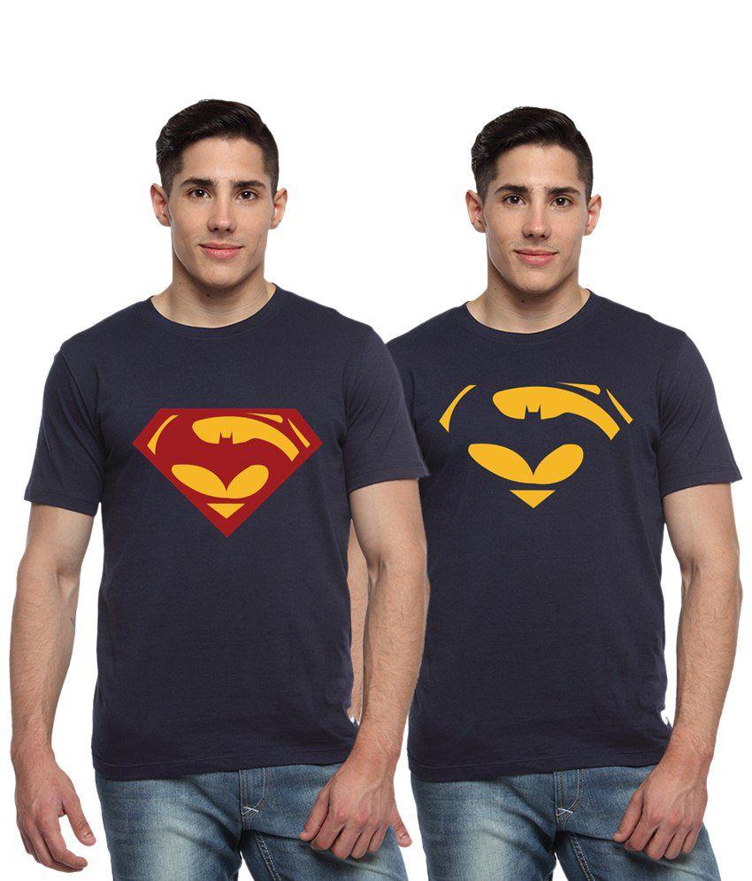 Adro Combo of 2 Navy Blue Batman & Superman Logo Half Sleeves T Shirts