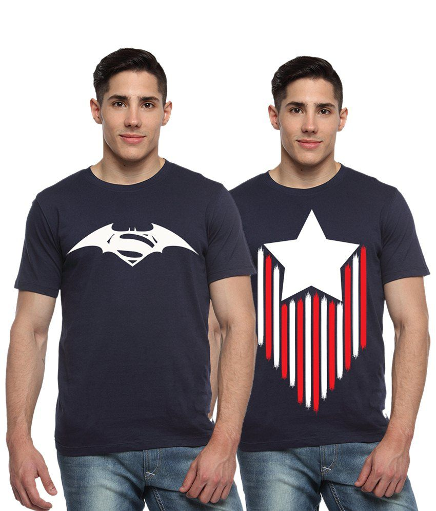 Adro Combo of 2 Navy Blue & White Batman, Superman & Captain America Logo Half Sleeves T Shirts
