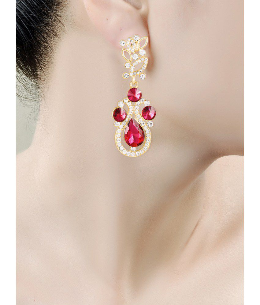 Red Diamond Chandelier Earrings: Big Pink Chandelier Earrings