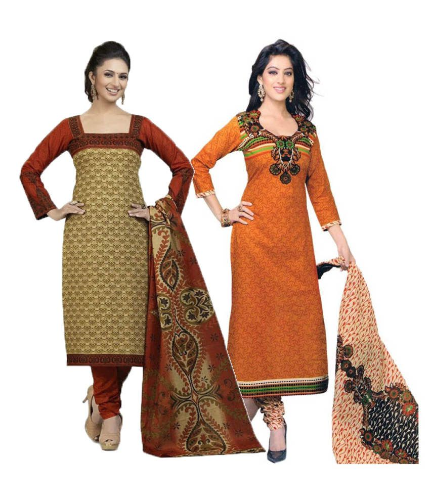 Diyastyle Beige and Orange Cotton Dress Material (Pack of 2)