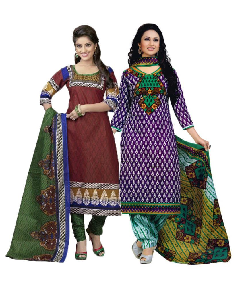 Diyastyle Brown and Purple Cotton Dress Material (Pack of 2)