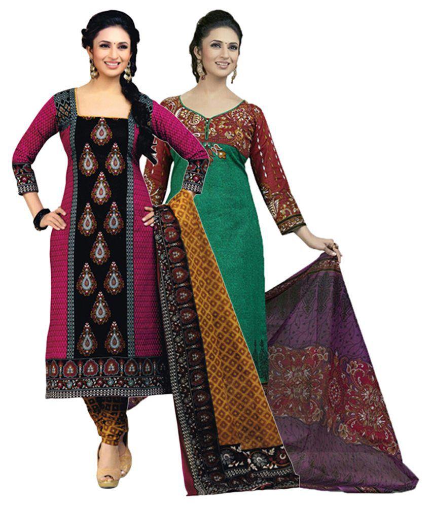 Diyastyle Multicolour Cotton Unstitched Salwar Suit Dress Material