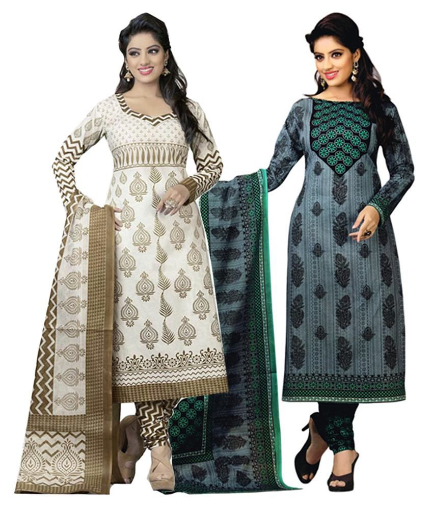 Diyastyle White & Gray Cotton Unstitched Salwar Suit Dress Material