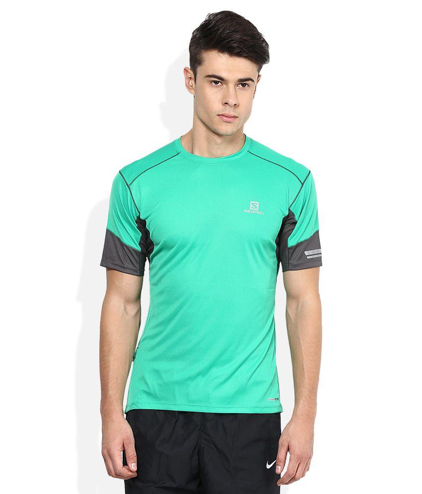 Salomon Green Polyester T Shirt