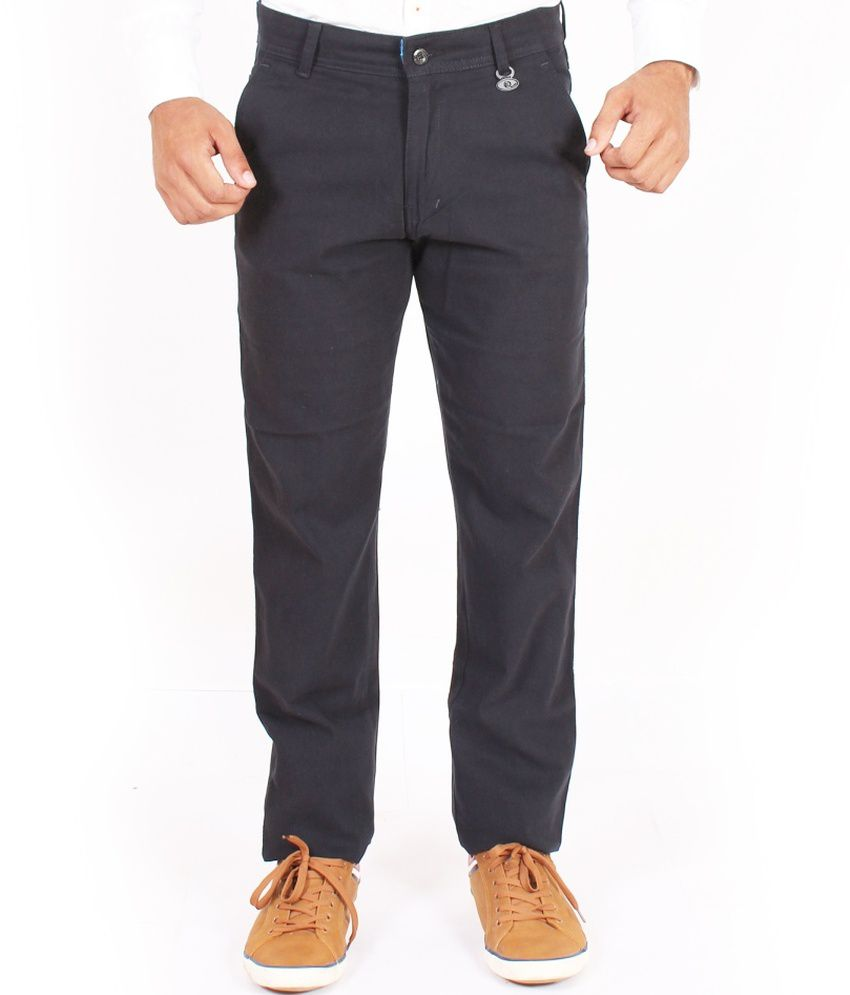 Krazy Black Regular Fit Casual Chino