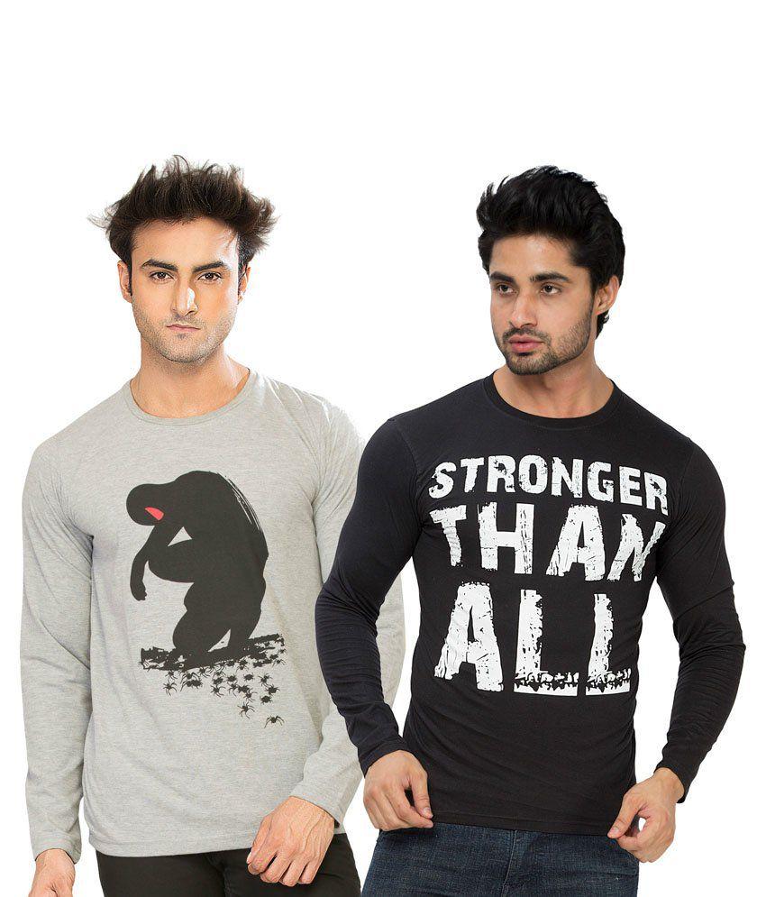 Alan Jones Grey & Black Cotton T-Shirt Pack Of 2