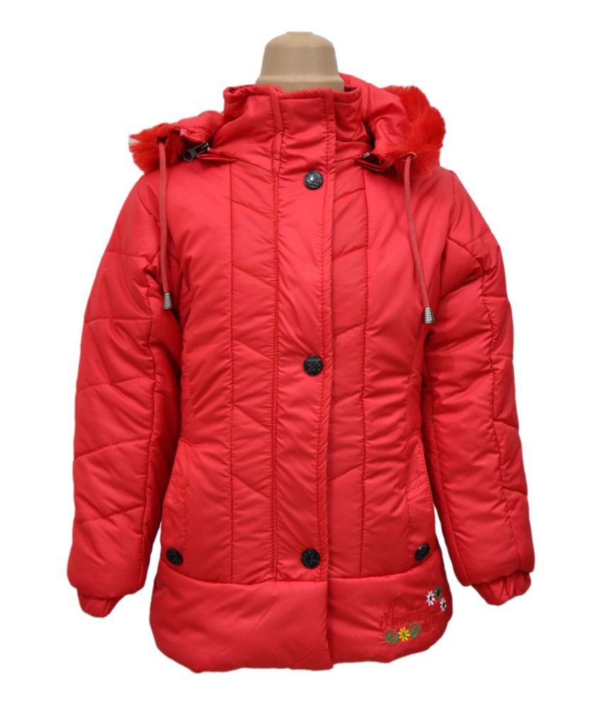 Come In Kids Red Full Sleeves Padded Jackets With Hood