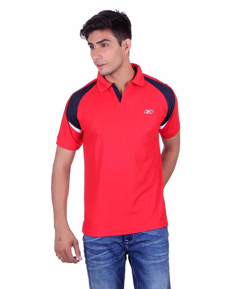 Ex10 Red Polyester Basketball T-shirt