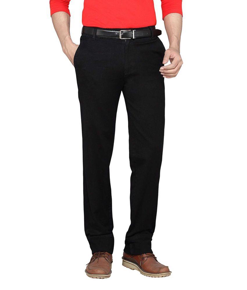 Faithful Black Cotton Blend Regular Fit Jeans