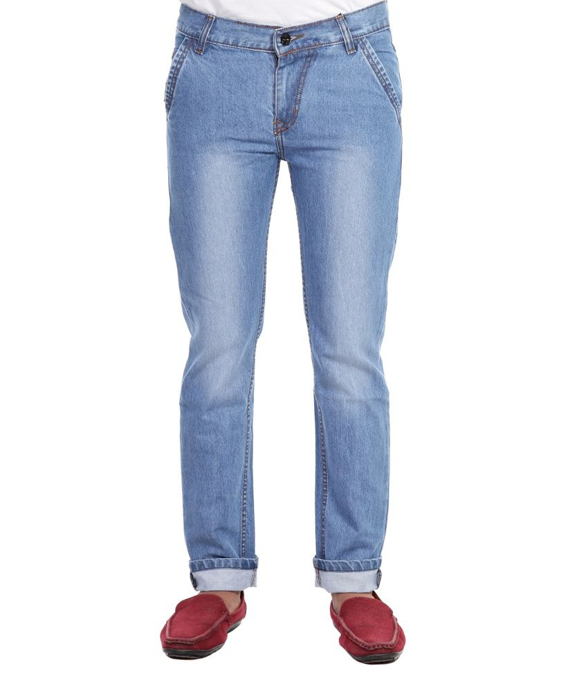 Faithful Blue Cotton Blend Regular Fit Jeans