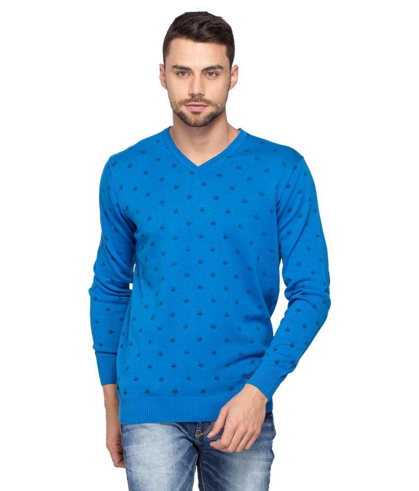 Spykar Blue Cotton T-Shirt