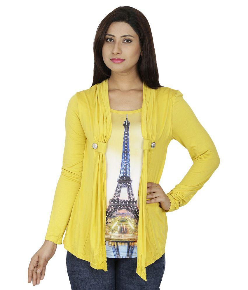 Svt Ada Collections Yellow Cotton Lycra Shrugs