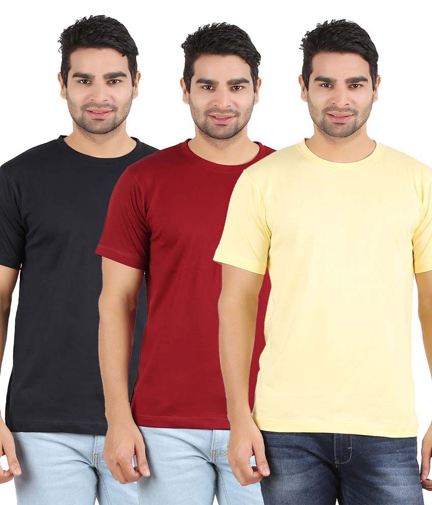 Heartin Beat Men's Solid T-Shirt Pack of 3 (Yellow & Maroon & Black)