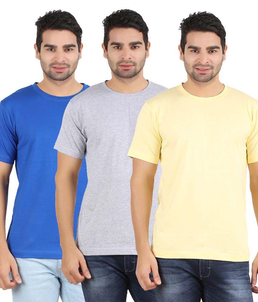 Heartin Beat Men's Solid T-Shirt Pack of 3 (Yellow & Grey & Light Blue)