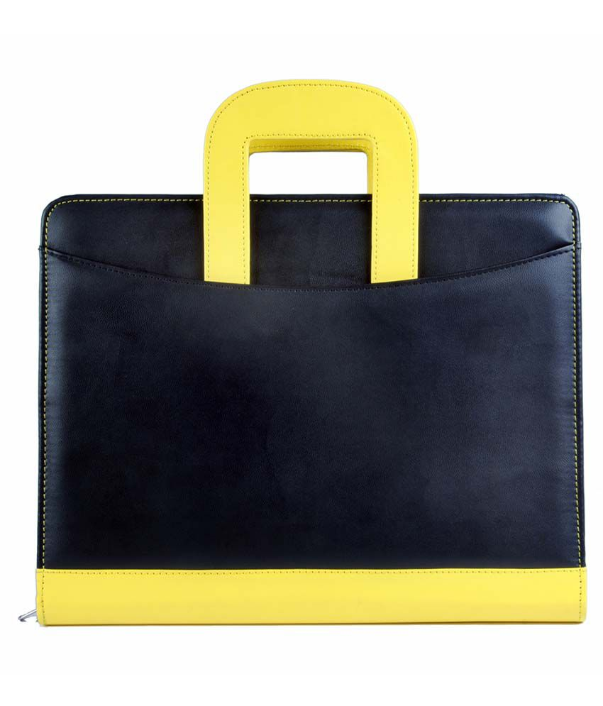 COI Black And Yellow Leatherite Briefcase Conference Folder/Document Folder