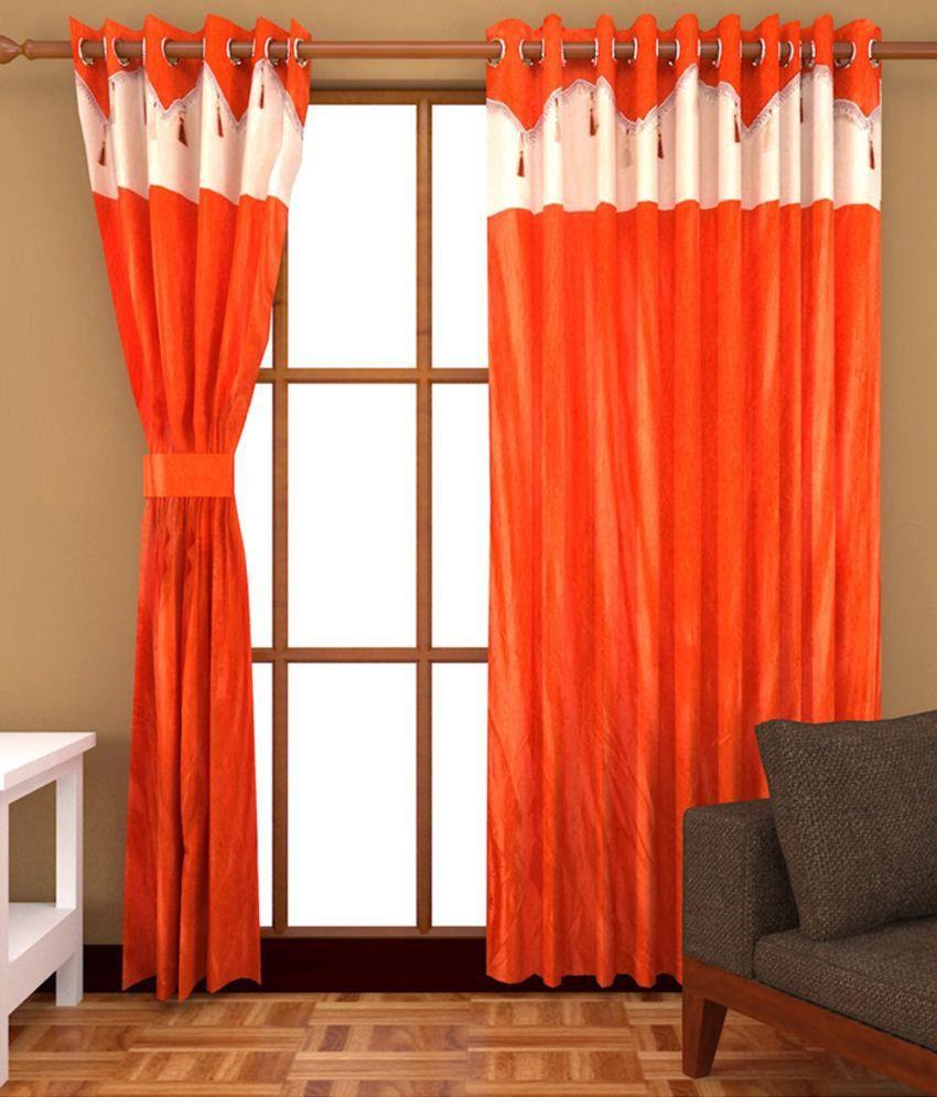 Homecentre Set of 3 Door Eyelet Curtains Solid Orange - Buy ...