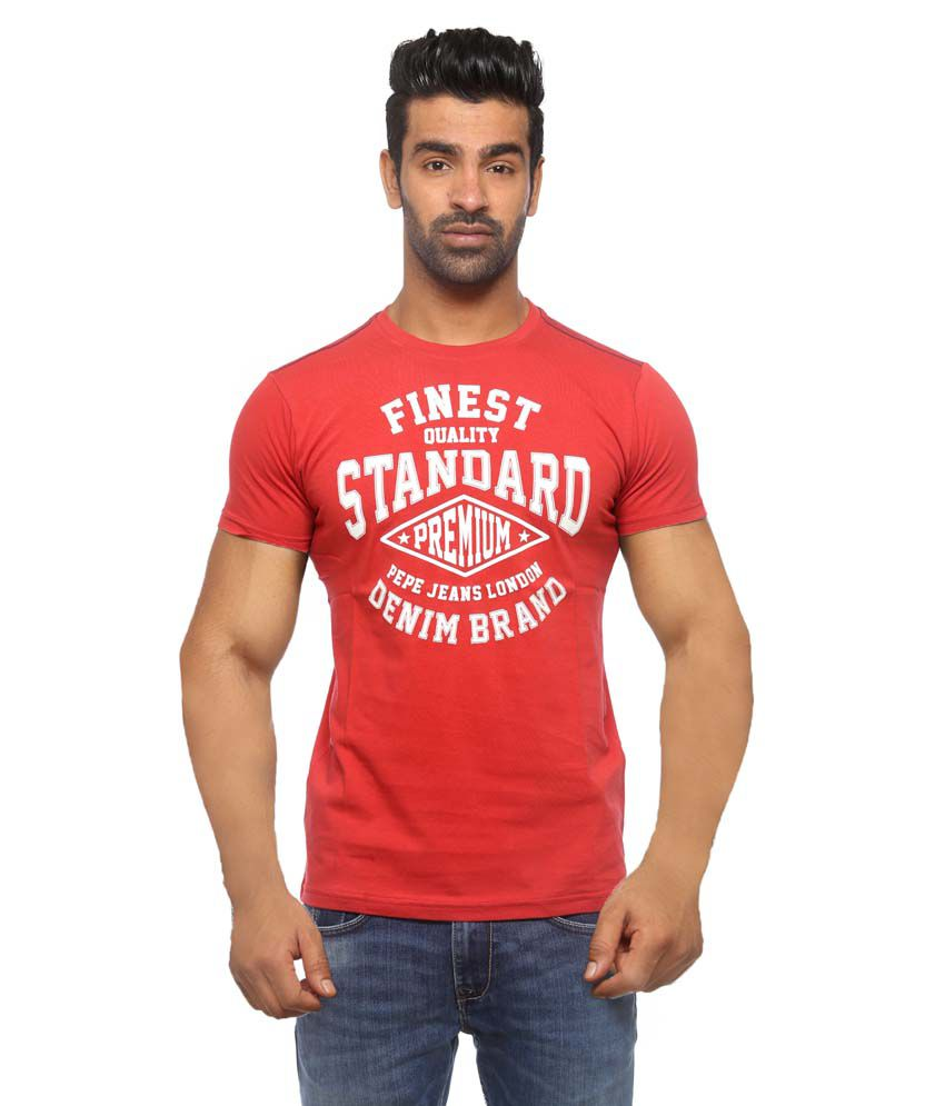 Pepe Jeans Red Cotton T - Shirt