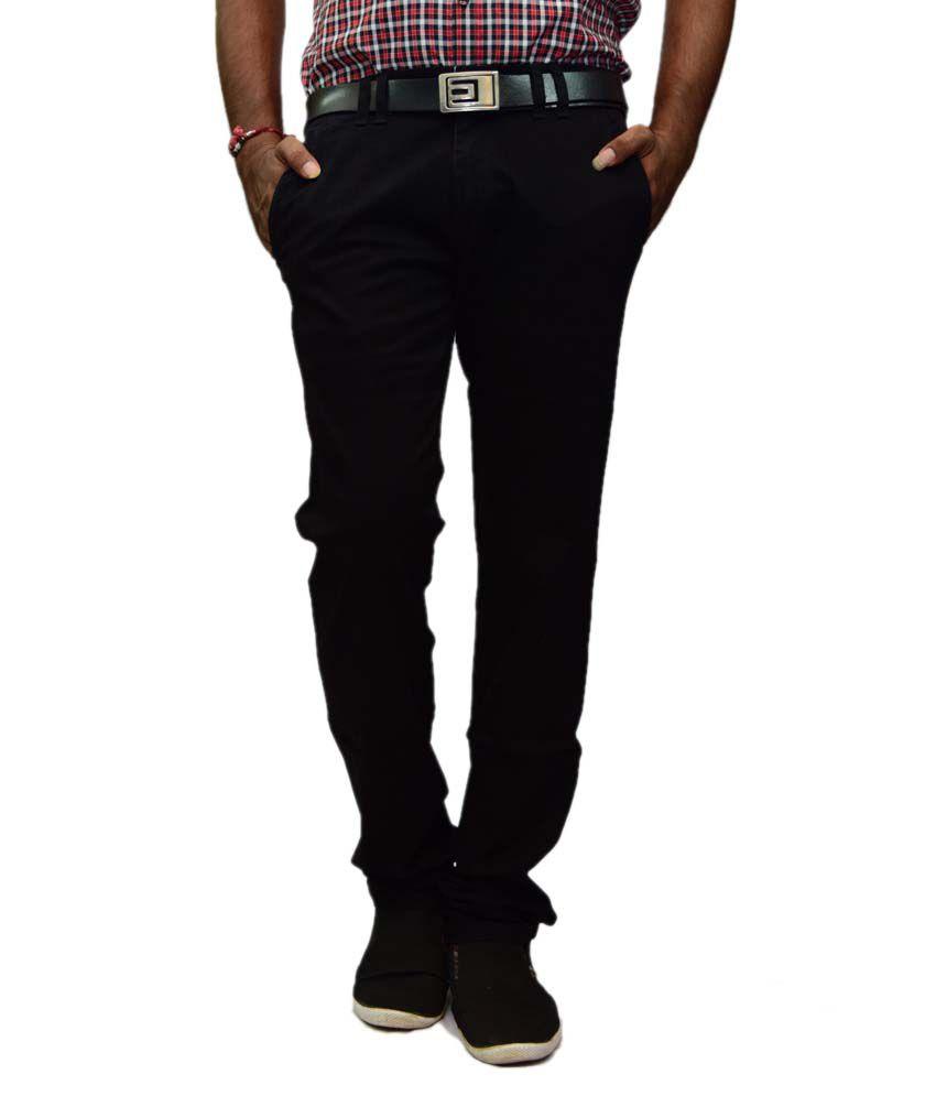 Rock Ford Black Regular Fit Casual Trouser