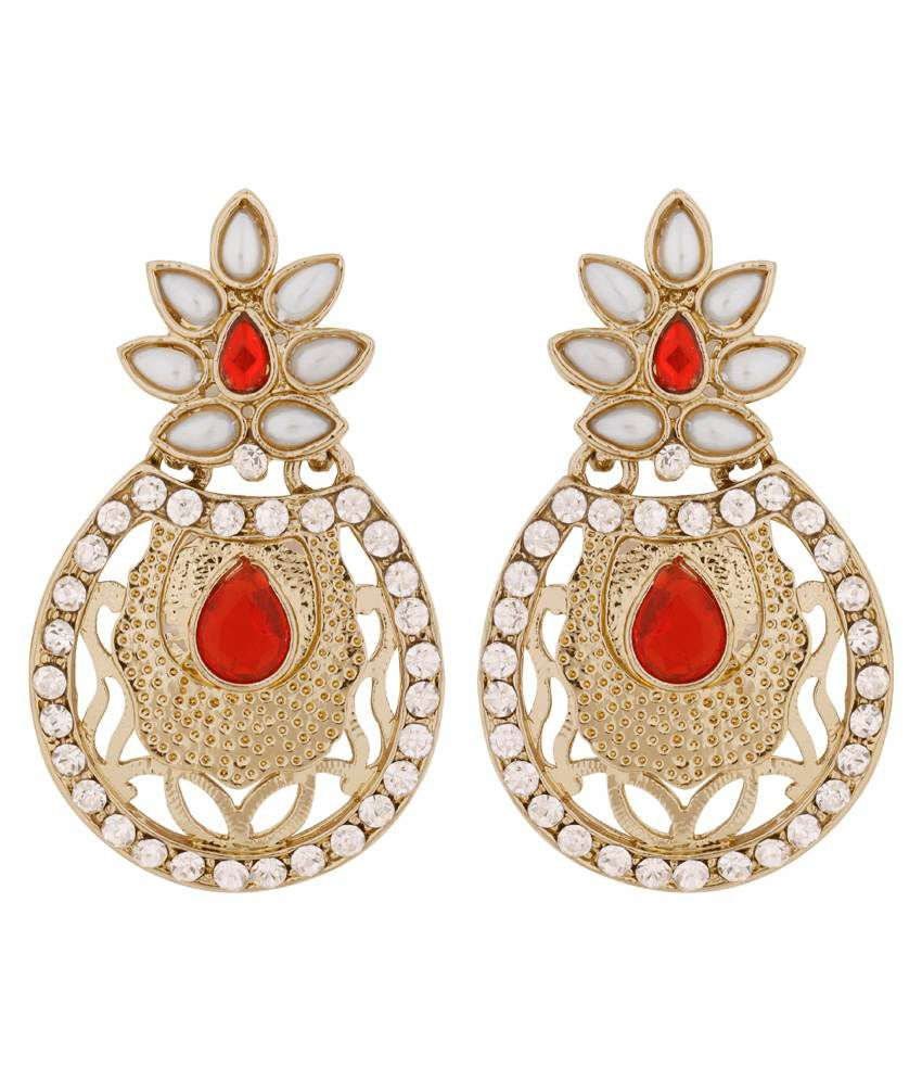 The Jewelbox Flower Filigree Antique Rhodium Pearl Red Earring for Women