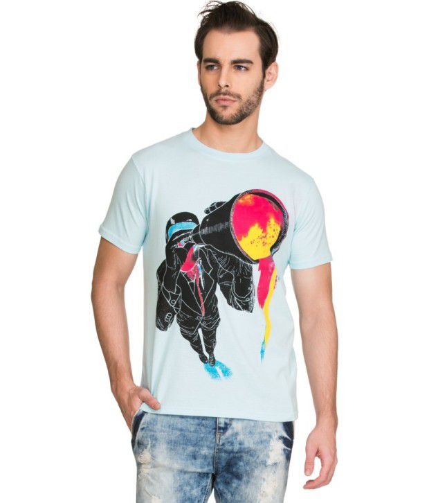 Zovi Blue Cotton T Shirt