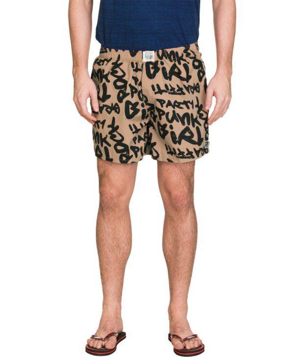 Zovi Brown Cotton Shorts