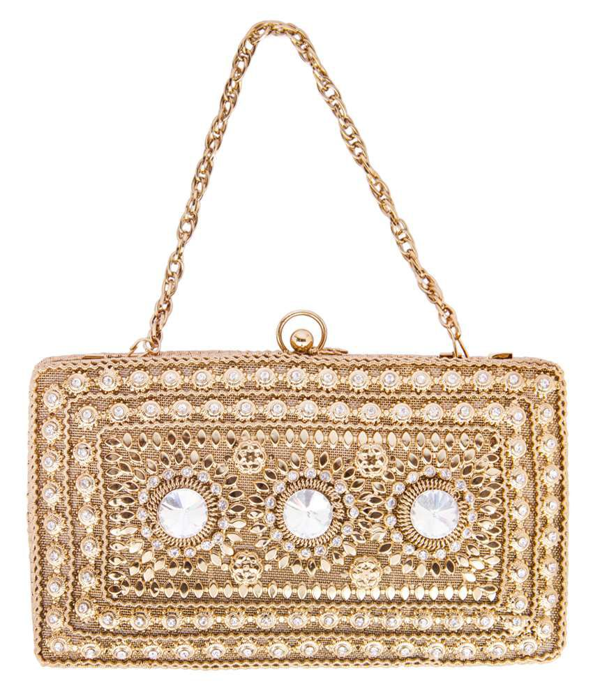 ShravyaArts Golden Classy Clutch