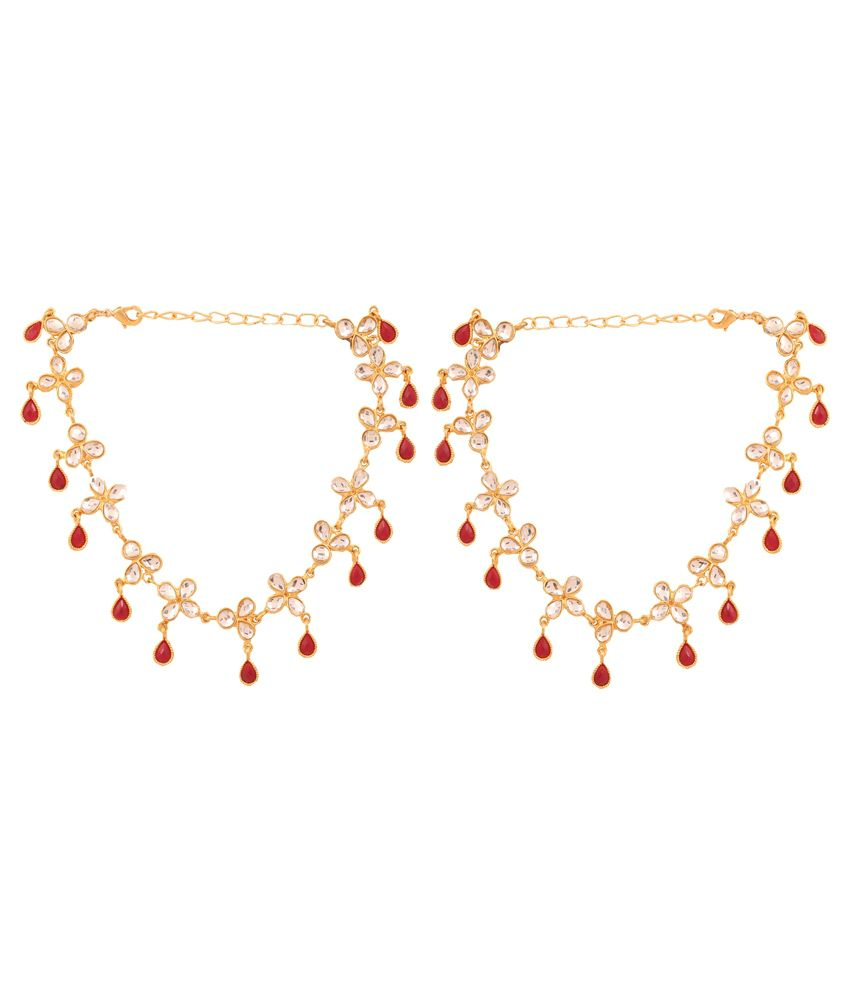 Touchstone Golden Bridal Pair Of Anklets