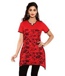 Aaboli Red Cotton Knit A-Line Short Kurta