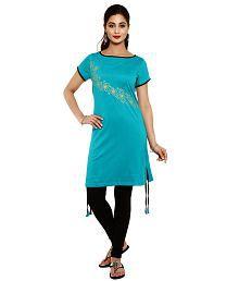 Aaboli Turquoise Cotton Knit Straight Women's Long Kurta