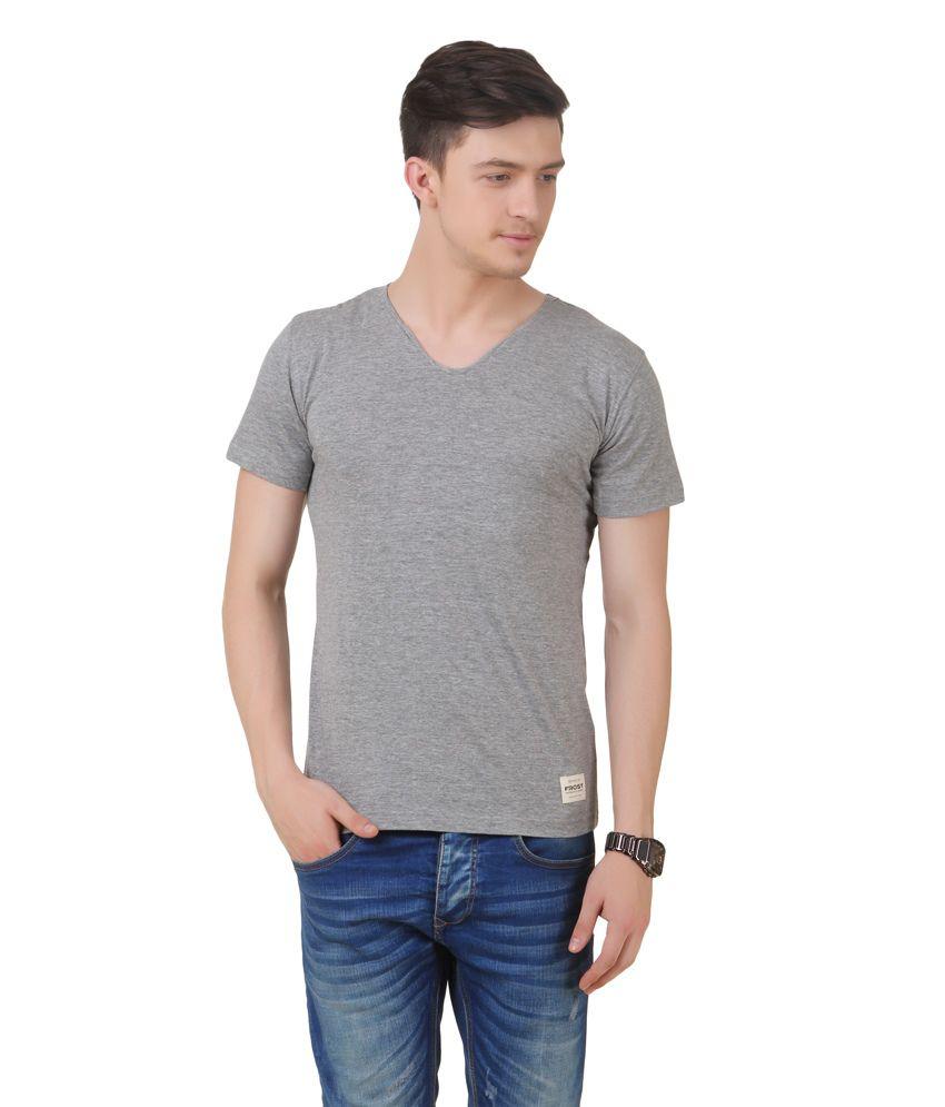 Frost Grey Cotton Blended V-neck T-shirt